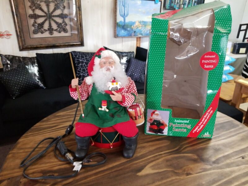 """Holiday Creations"" Animated Painting Santa, Original Box Works"