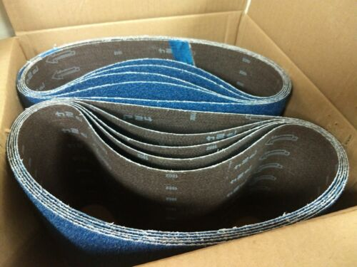 """Blue Zirconia 8"""" x 29.5"""" 24 Grit Floor Sanding Belts - Hummel Lagler (Box of 10)"""