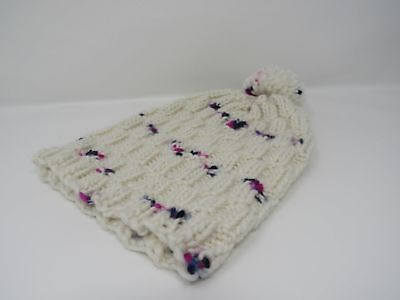 Handcrafted Knitted Hat Beanie Textured Pom Pom 100% Merino Wool Female Adult
