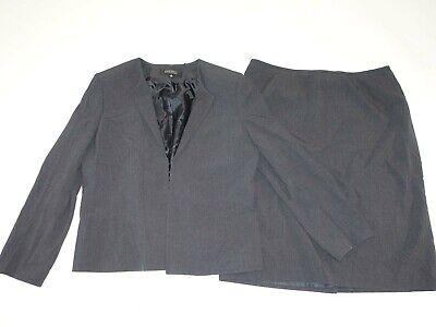 Kasper Women's Jacket Skirt Suit Size 16 Charcoal Gray Buttonless Blazer Lined