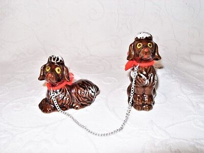 Pair of Vintage Mid-Century Brown Redware Ceramic Chained Poodle Dogs Japan EUC