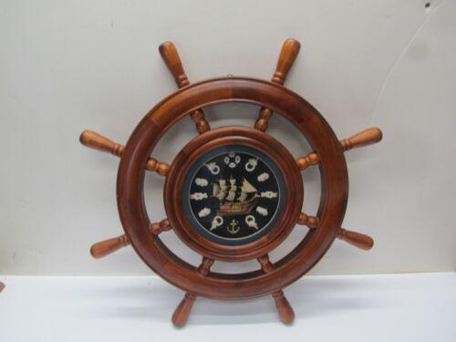 "21"" Wood Ship Wheel Nautical Themed Wall Decor Wooden Captain Helm 15"" Center"