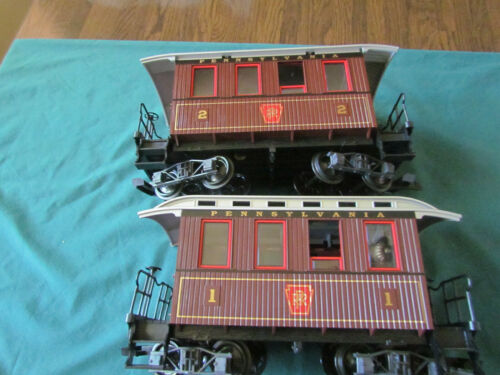 Two LGB Pennsy RR Old-Time Passenger Cars - G Gauge