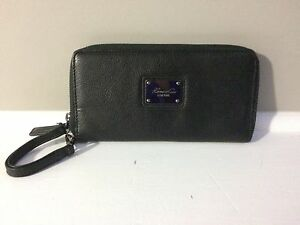 Women's black leather zip around wallet