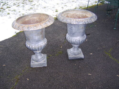 Pair of Antique Cast Iron Garden Urns Planters