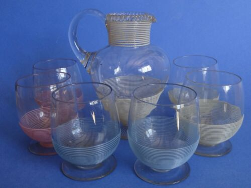 Antique SET Victorian Stevens & Williams Threaded Art Glass ENGLAND CIRCA 1880s