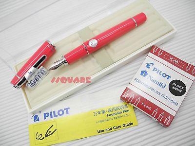 Pilot FPR-3SR Prera Medium Nib Fountain Pen Pink w/ 6 Black ink cartridges