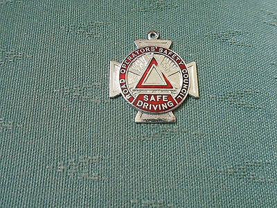 OLD ROSCO SAFE BUS DRIVING ENAMEL MEDAL BADGE