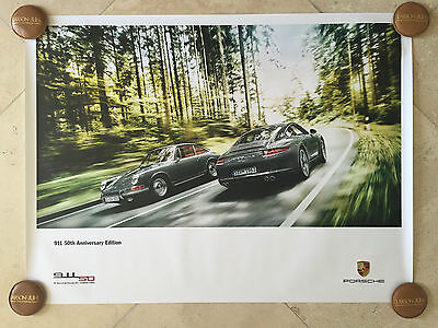 "Porsche Original Factory Poster-2014 Carrera 911 | 991 50th Anniversary ""Forest"""