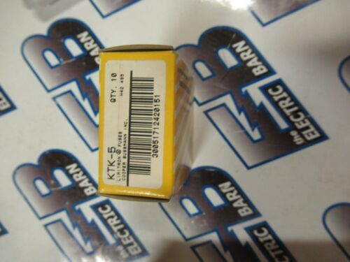 BUSSMAN KTK-5 (1) Box of (10), 5 Amp, 600 Volt, Miniature Fuses - NEW-B