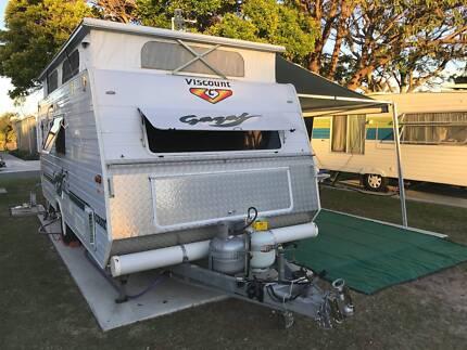 Caravan shower with hot water
