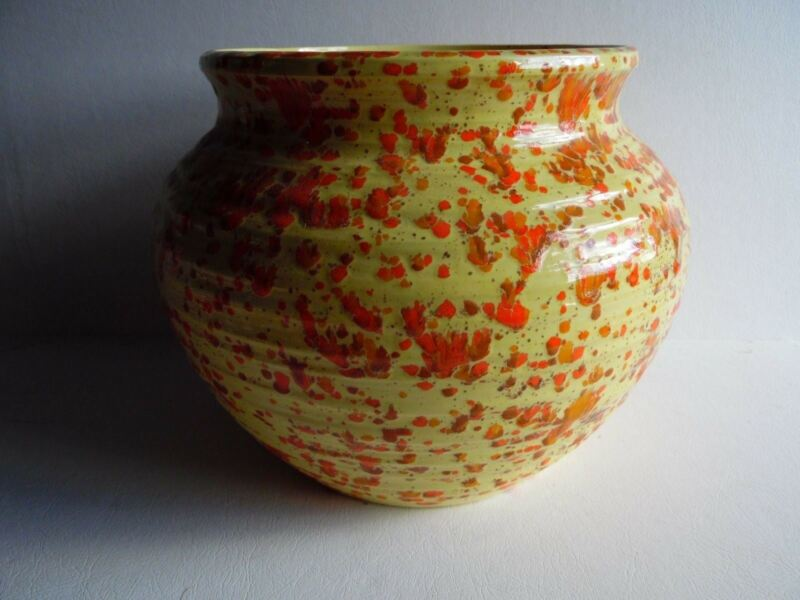 "7 1/2"" T Yellow Splatter Speckled Ceramic Vase Planter Pot 7 1/2"" Mouth D"