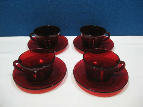 RUBY RED Set of 4  Cups AND 4 SAUCERS...