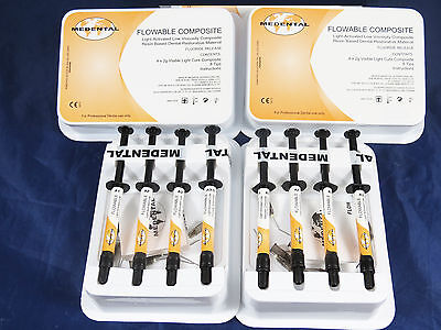 Dental Light Cure Composite Flowable Shades A1a2a3b2 Kit 2 Box Medental