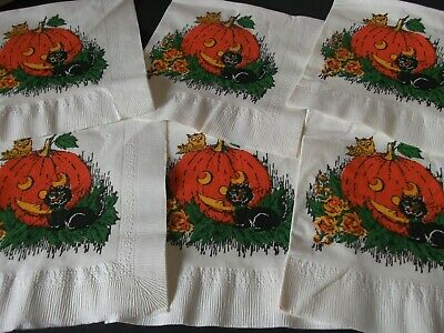 6 Vtg Halloween Paper NapkinS~BLACK CAT,JOL,OWL-CUTE EARLY HALLMARK?