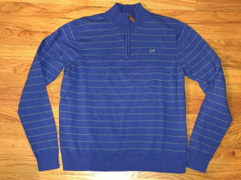Boys Vineyard Vines Classic Zip Mock Neck Blue Striped Sweater Size XL 18