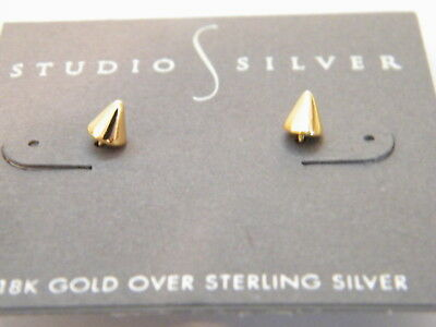 18K Gold Over Sterling Silver Spike Stud Earrings by Studio S Silver
