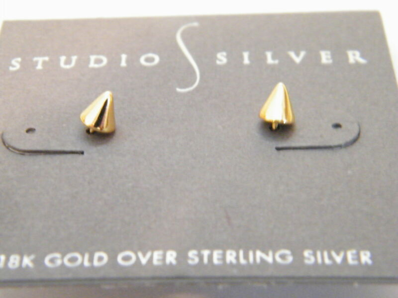 18K Gold Over Sterling Silver Spike Stud Earrings by Studio S Silver