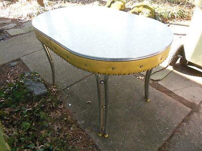 Vintage Retro Mid Century Deco White Formica Yellow Vinyl Kitchen Table Chrome