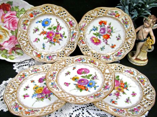 DRESDEN hand painted 5 plates open edges and painted flowers Germany embossed