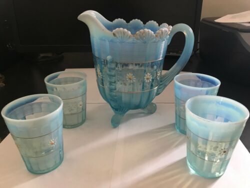 BLUE OPALESCENT PAINT & GOLD ACCENTS NORTHWOOD VICTORIAN GLASS WATER PITCHER SET