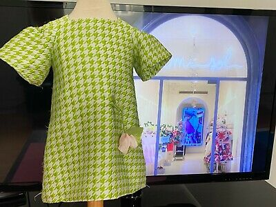 MIMISOL ITALY GREEN HOUNDSTOOTH SHORT SLEEVE DRESS FLOWER APPLIQUE 4-5