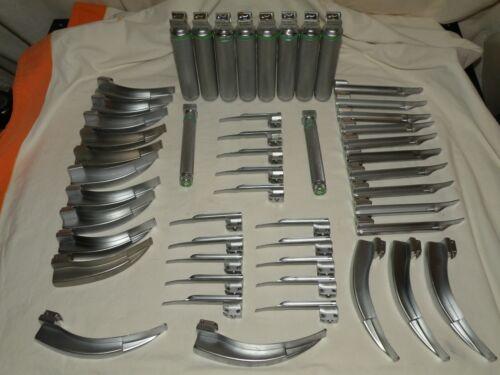 Propper Fiber Optic Laryngoscope Blades, Miller + MAC, w/ 10 Handles, Lot of 50