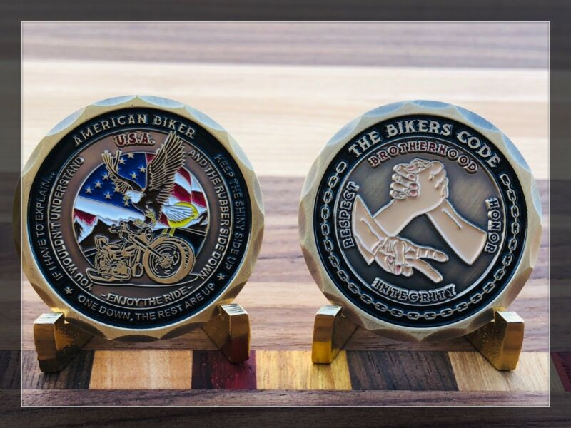 """MOTORCYCLE CHALLENGE COIN """"THE BIKERS CODE"""" BROTHERHOOD HONOR RESPECT INTEGRITY"""