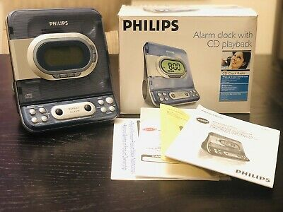 Philips AJ3977/37 2006 CD Player and Radio Alarm Clock Combo Blue Stereo TESTED