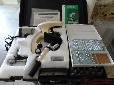 Edmund Scientific Microscope Model 609-573-6250 W Case Slides Light Lens Manual