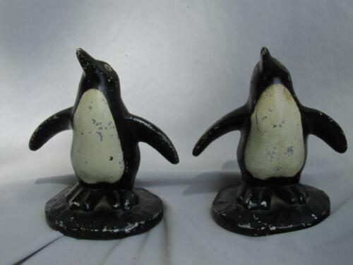 Vintage Art Deco Painted Metal Penguin Figurines Pair