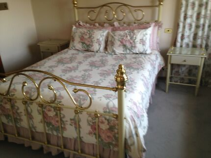 Queen Size Brass Bed with Matching Bed Side Tables