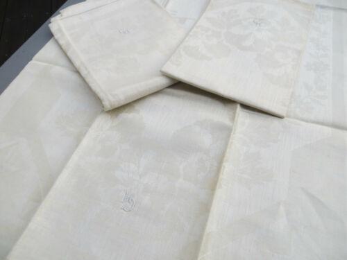 Towel  Antique Unused 3 Three  Art Nouveau Damask Linen Towels  Pansies german