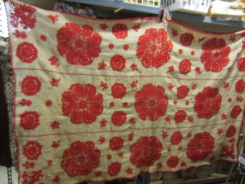 Antique Hungarian Redwork Coverlet-Heavy Homespun Linen or Hemp
