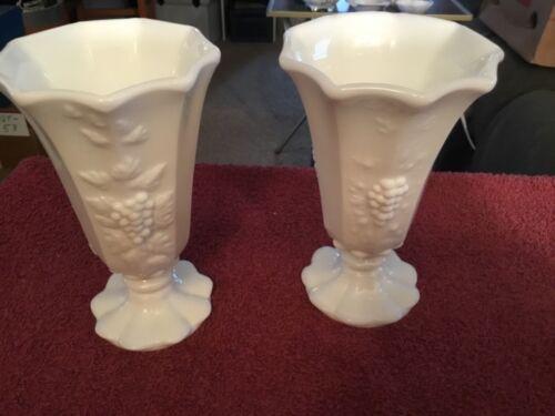(2) White Milk Glass Vases