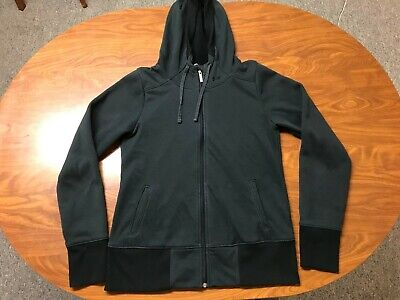 WOMENS USED UNDER ARMOUR BLACK FULL ZIP COLD GEAR ATHLETIC HOODIE JACKET LARGE