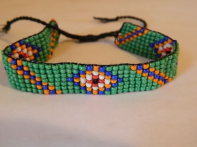 Teal, Blue, Orange, White and Red Bead Woven Bracelet - Red White And Blue Bracelet