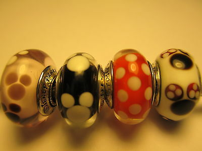 Set 4 Authentic Pandora Silver 925 Ale Disney Mickey Minnie Signature Bead Charm