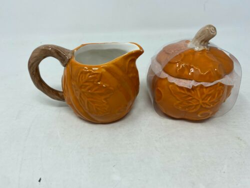 New Pumpkin Creamer & Sugar Set By  Transpac Cer0817-921