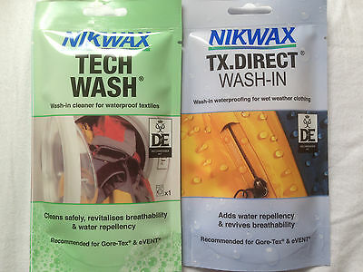 Nikwax Tech Wash & TX Direct POUCH Twin Pack Cleaning Waterproof Outdoor Jacket
