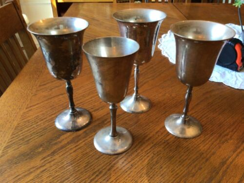 4 Silver Plate Wine Goblets / Cups 8 inches