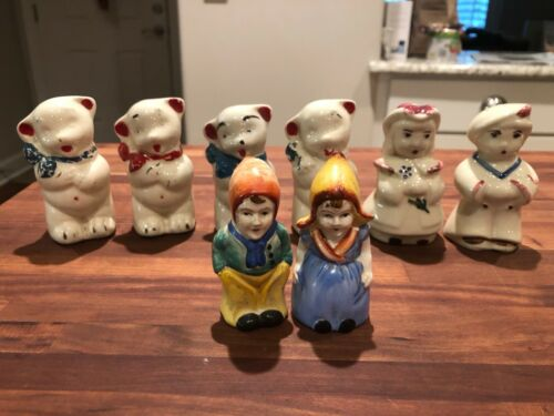 Antique Lot of 4 Porcelain Salt and Pepper Shakers