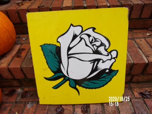 antique White Rose double flanged panel gasoline sign