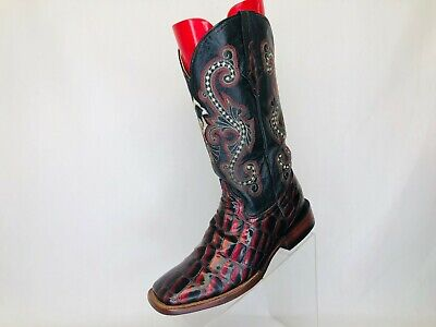 Ferrini Black Red Patent Leather Gator Belly Pint Cowboy Boots Womens Size 9 B