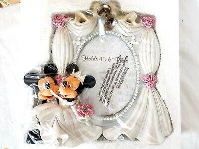 New Disney Parks Mickey & Minnie Mouse Bride Groom Wedding Photo Frame - -