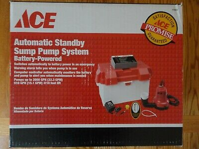 Ace Automatic Standby Sump Pump System 4164927 Battery-Powered Up To 2000 GPH