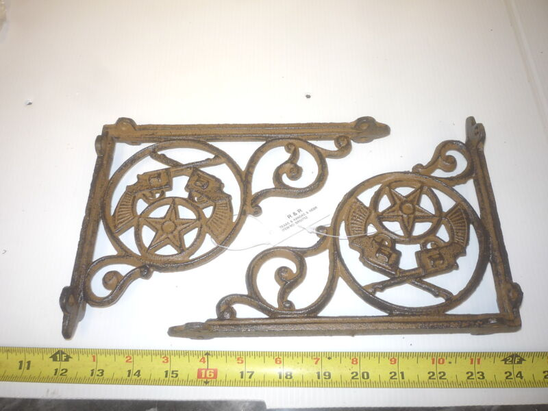 4  WESTERN SHERIFF STAR PISTOL GUNS SHELF WALL HANGER BRACKET CORNER PORCH POST