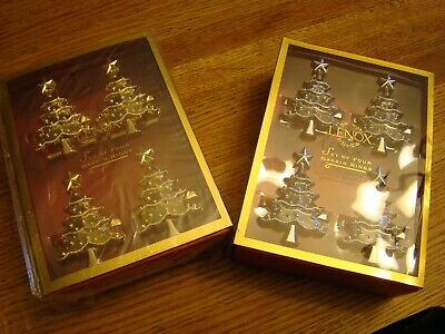LENOX Set of 4 Napkin Rings Gold or Silver Christmas Tree Lenox Holiday Noel Lenox Set Ring