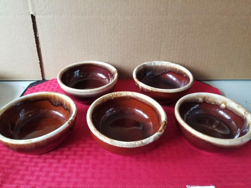 "McCoy Pottery 5pc BROWN DRIP Glaze Soup Cereal Bowl  USA 5 1/4"""