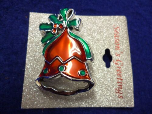 """NEW PLASTIC CHRISTMAS HOLLY PIN BROOCH RED GREEN SILVER TONE 2"""" X 1 1/4"""""""
